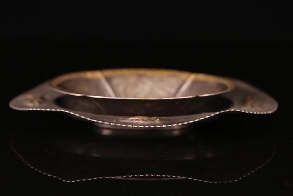 ★一鳴堂★ 唐代 双銀の皿 純銀 【サイズ】高さ3.1*18.3*13.8cm,重さ279g【D】