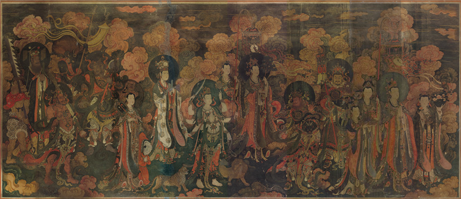 明 佚名 正統4年 帝釈梵天図_帝釈天 時代物 旧家の蔵出し57.74x135.64cm