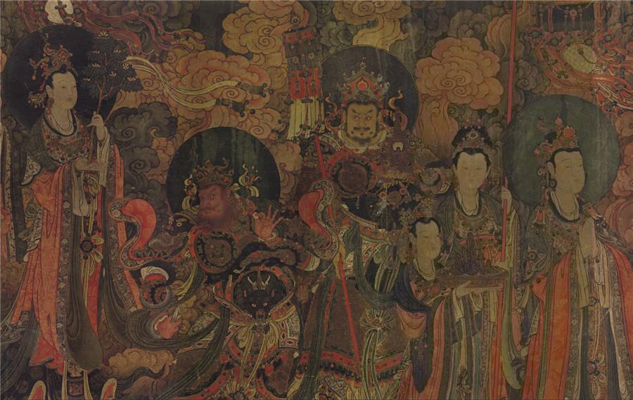 明 佚名 正統4年 帝釈梵天図_帝釈天 時代物 旧家の蔵出し57.74x135.64cm_画像4