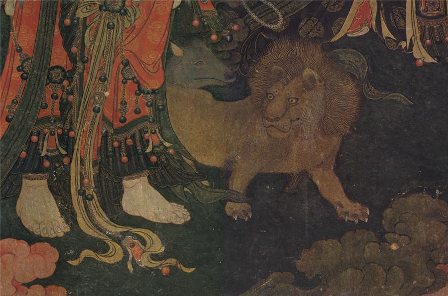 明 佚名 正統4年 帝釈梵天図_帝釈天 時代物 旧家の蔵出し57.74x135.64cm_画像7