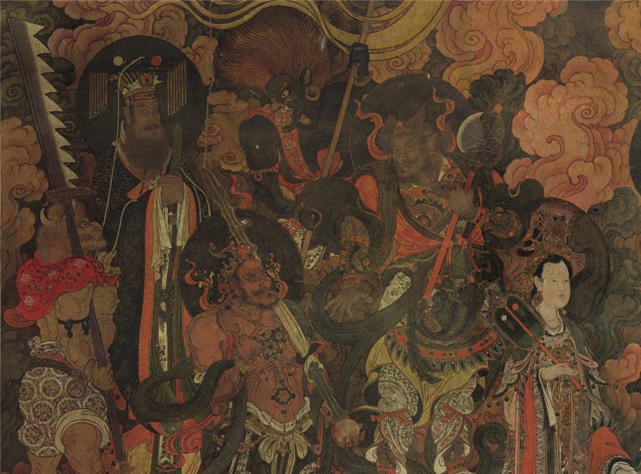 明 佚名 正統4年 帝釈梵天図_帝釈天 時代物 旧家の蔵出し57.74x135.64cm_画像2