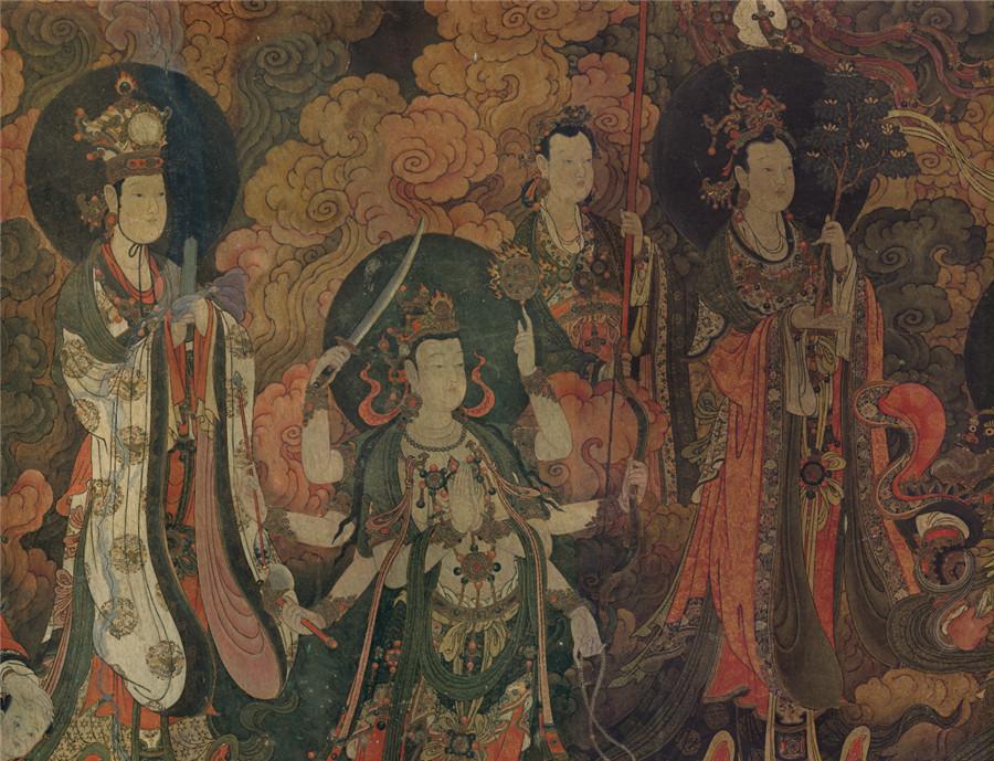 明 佚名 正統4年 帝釈梵天図_帝釈天 時代物 旧家の蔵出し57.74x135.64cm_画像3