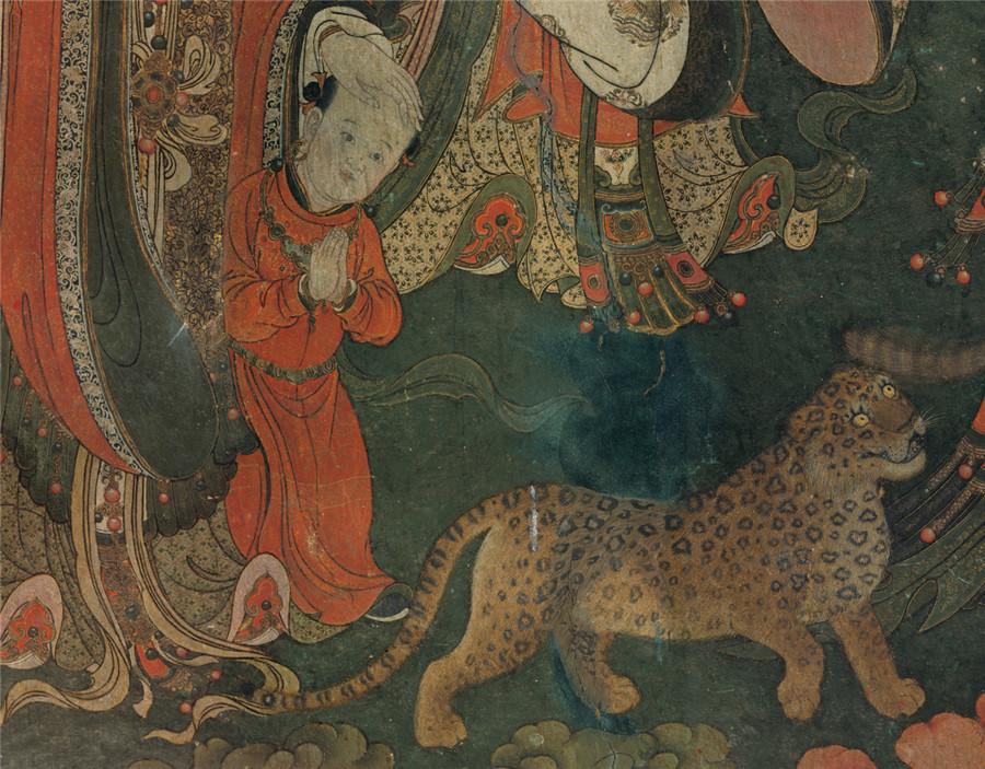 明 佚名 正統4年 帝釈梵天図_帝釈天 時代物 旧家の蔵出し57.74x135.64cm_画像6