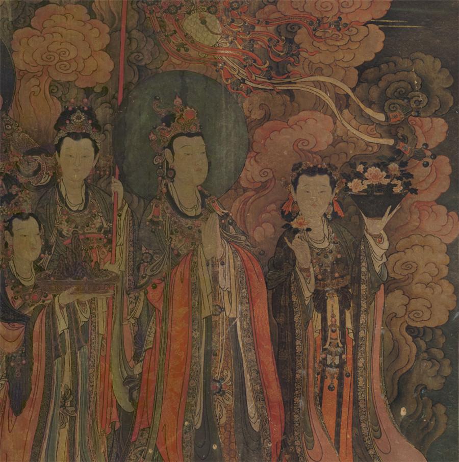 明 佚名 正統4年 帝釈梵天図_帝釈天 時代物 旧家の蔵出し57.74x135.64cm_画像5