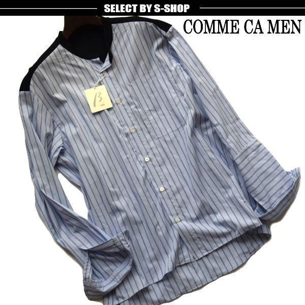 ◆コムサメンベータ(COMME CA MEN β)◆店頭最新作 定価24.840円 ストライプオアーバーシャツ 青/M 19IF03