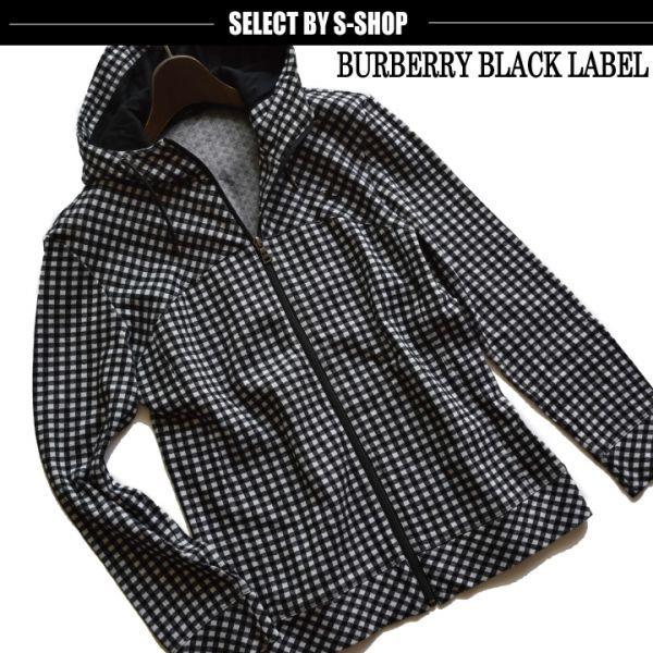 ■バーバリーブラックレーベル(BURBERRY)■超美品 ホースマン刺繍 ギンガムチェックジップパーカ 2/M