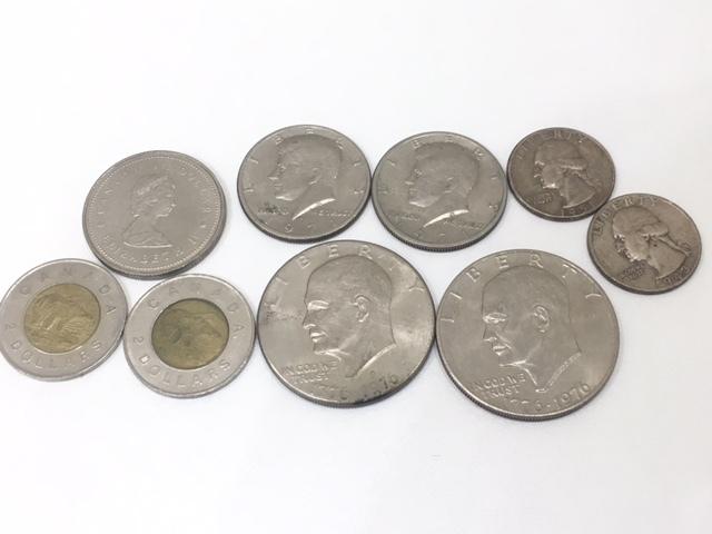 【A191B】外国銭 アメリカ ドル 米ドル カナダ おまとめ 1ドル銀貨 50セント 25セント など 銀貨あり 外貨 コイン