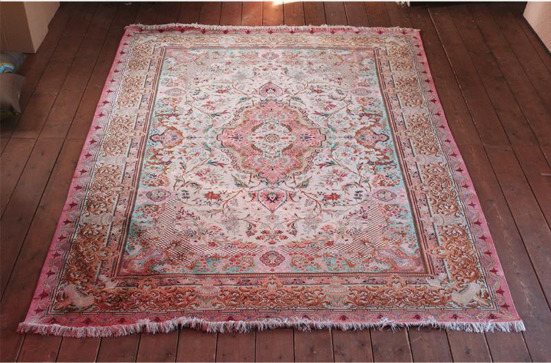 未使用☆豪華天然入イラン ペルシャ絨毯☆ウール高密度200万縫い針世界の名品01