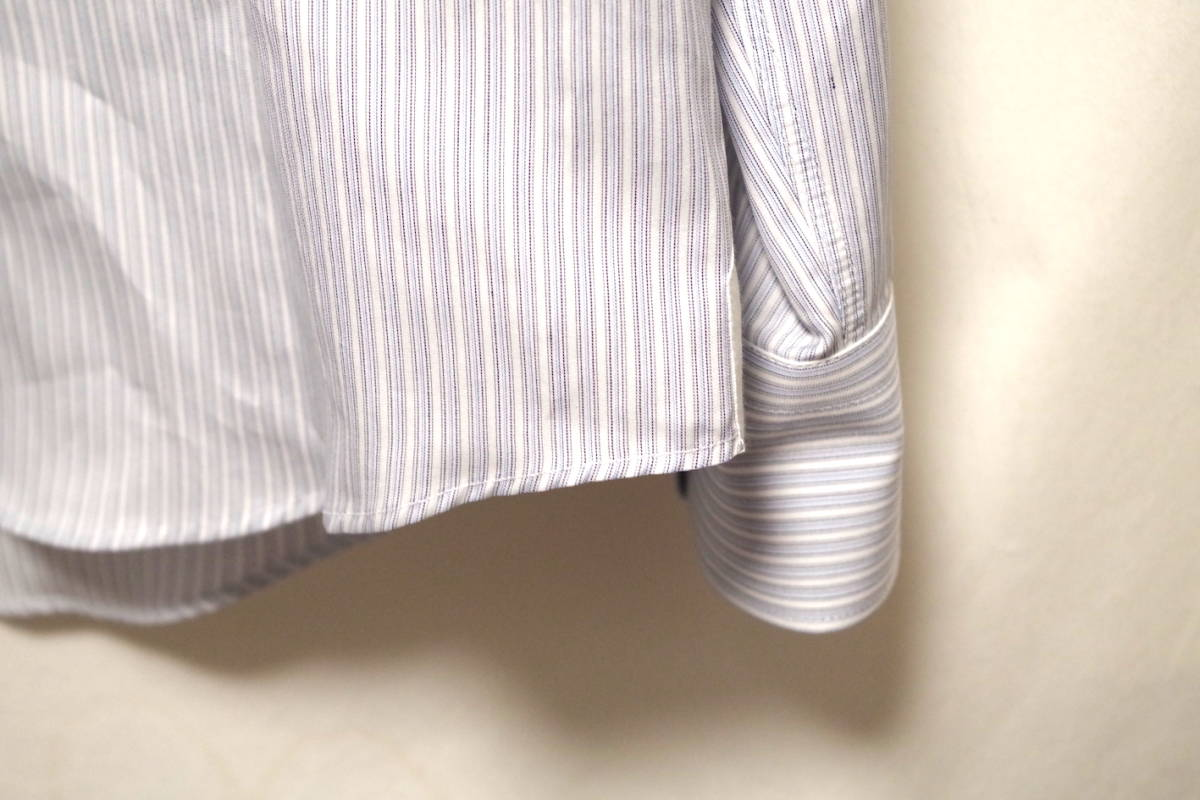 17SS LOUIS VUITTON ルイヴィトン ストライプ シャツ LOUIS VUITTON FOREVER 刺繍 ブルー ホワイト XL サークルロゴ LV チャップマン_画像6