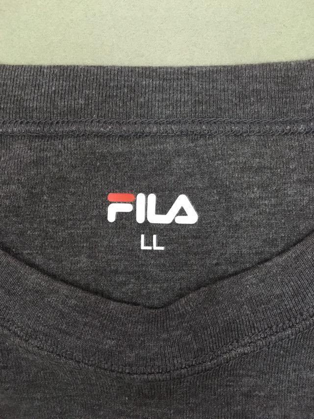 &4-11 フィラ FILA 半袖Tシャツ メンズ LLサイズ 大きめ ビッグロゴ グレー スポーツ系_画像3