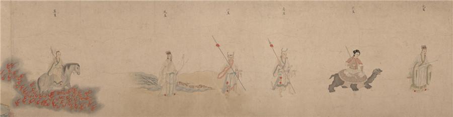 中国美術 明 仇英 『 五星二十八宿神形図 』希少 手巻・紙本24.8x957.4cm_画像3