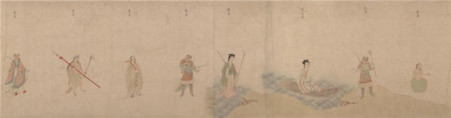 中国美術 明 仇英 『 五星二十八宿神形図 』希少 手巻・紙本24.8x957.4cm_画像6