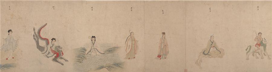 中国美術 明 仇英 『 五星二十八宿神形図 』希少 手巻・紙本24.8x957.4cm_画像5