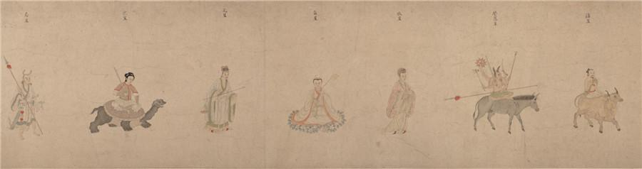 中国美術 明 仇英 『 五星二十八宿神形図 』希少 手巻・紙本24.8x957.4cm_画像8