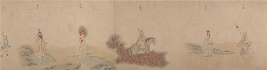 中国美術 明 仇英 『 五星二十八宿神形図 』希少 手巻・紙本24.8x957.4cm_画像7