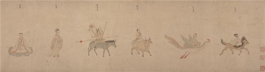 中国美術 明 仇英 『 五星二十八宿神形図 』希少 手巻・紙本24.8x957.4cm_画像4