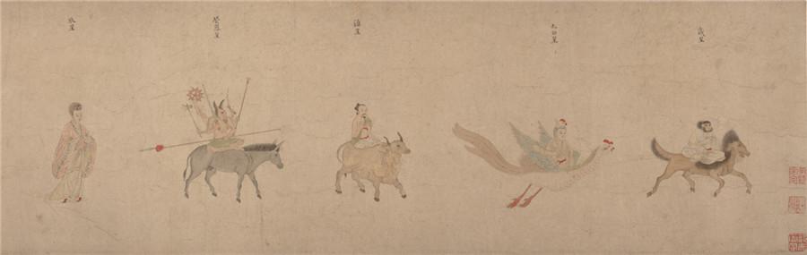 中国美術 明 仇英 『 五星二十八宿神形図 』希少 手巻・紙本24.8x957.4cm_画像9