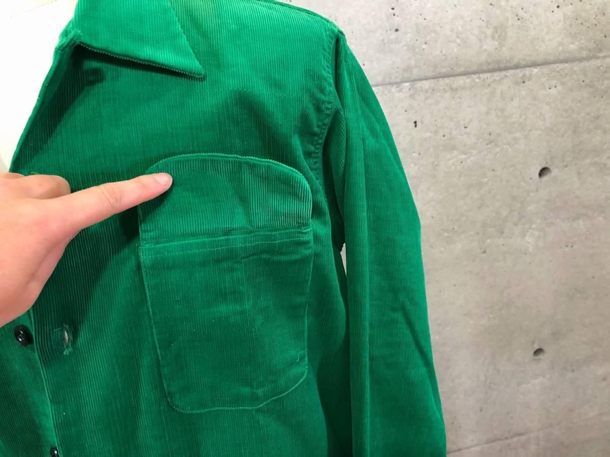 希少 《 Dead Stock / 1950年代製 》50s デッド 【 Brooks Lane ビンテージ 緑 グリーン コーデュロイ シャツ M アメリカ製 開襟 】_画像3