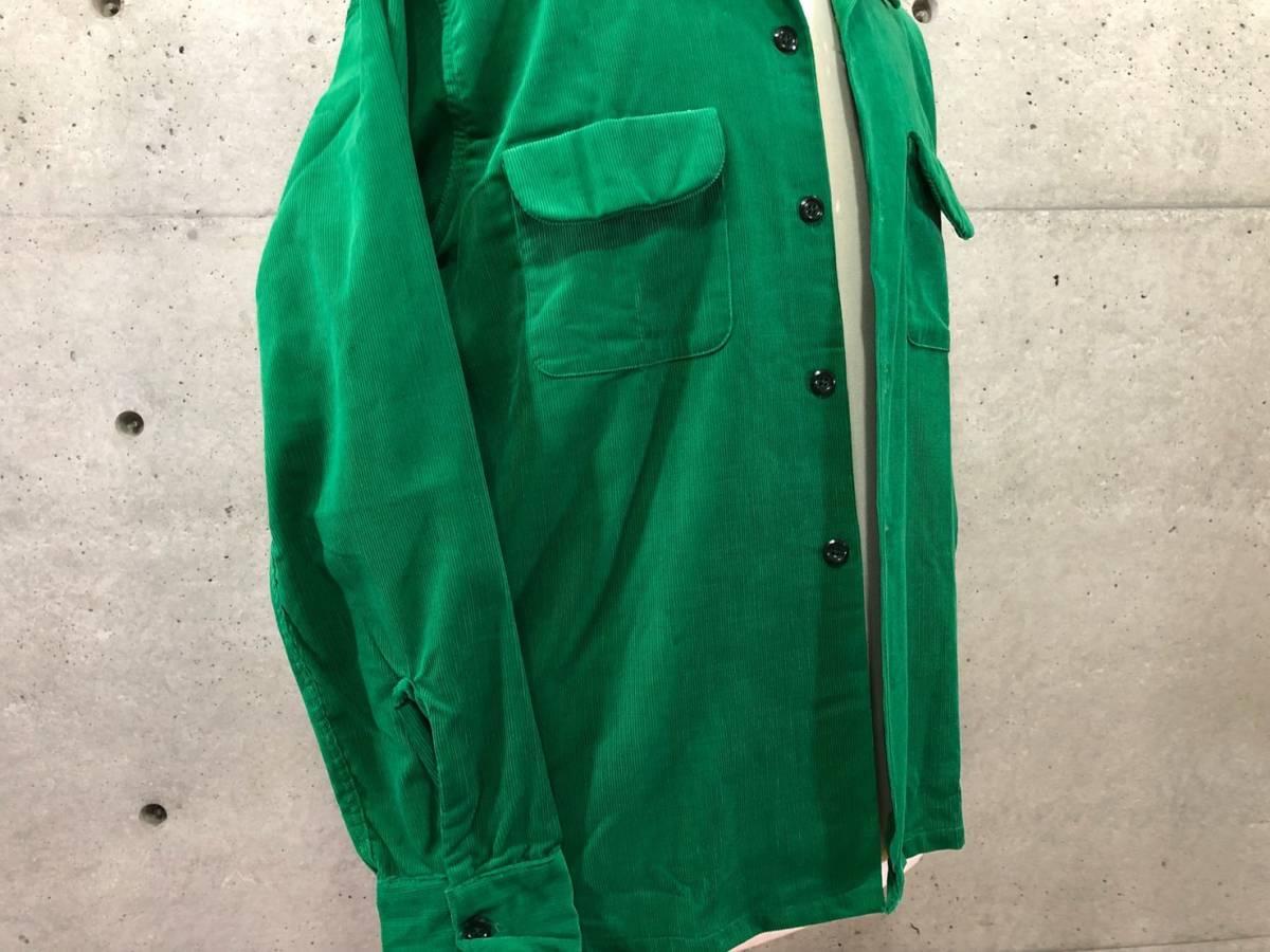 希少 《 Dead Stock / 1950年代製 》50s デッド 【 Brooks Lane ビンテージ 緑 グリーン コーデュロイ シャツ M アメリカ製 開襟 】_画像4