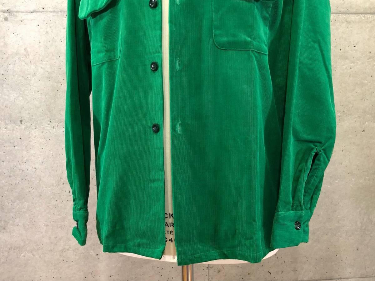希少 《 Dead Stock / 1950年代製 》50s デッド 【 Brooks Lane ビンテージ 緑 グリーン コーデュロイ シャツ M アメリカ製 開襟 】_画像5
