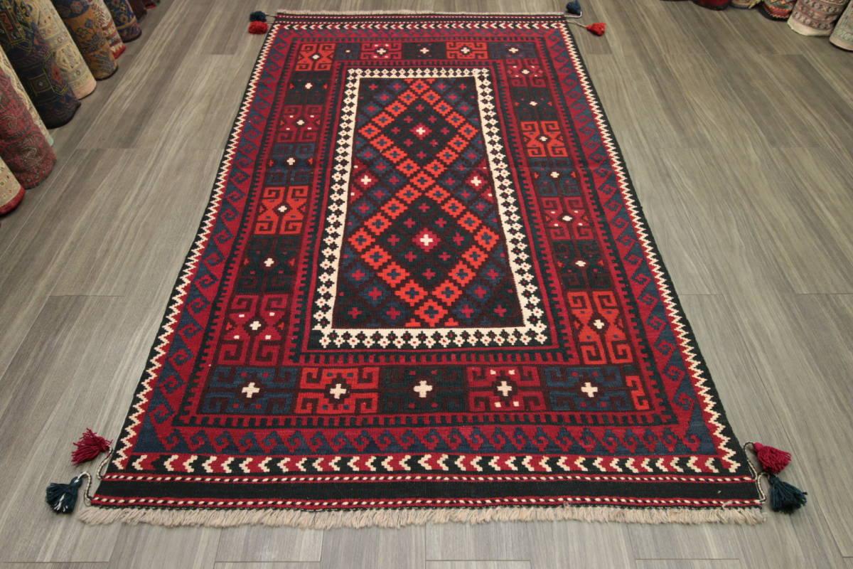 ボンボン飾りのついたマイマナキリム トライバルラグ アフガニスタン 手織りオールドキリム テキスタイルインテリア 122x207cm/GH340