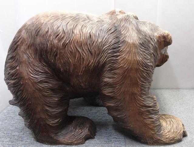 【YU665】 熊の木彫り 置物 全長約71cm インテリア 飾り 装飾品 木製 クマ 工芸品 民芸品 作者不明 _画像5