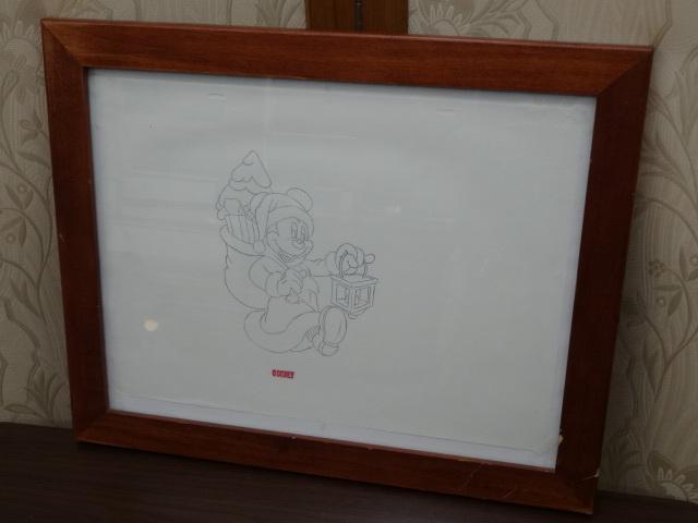 ディズニー Disney 「 ミッキーサンタ 」 鉛筆画 肉筆 デザイン画 額装