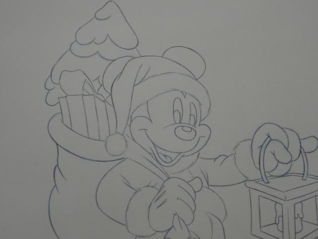ディズニー Disney 「 ミッキーサンタ 」 鉛筆画 肉筆 デザイン画 額装_画像8