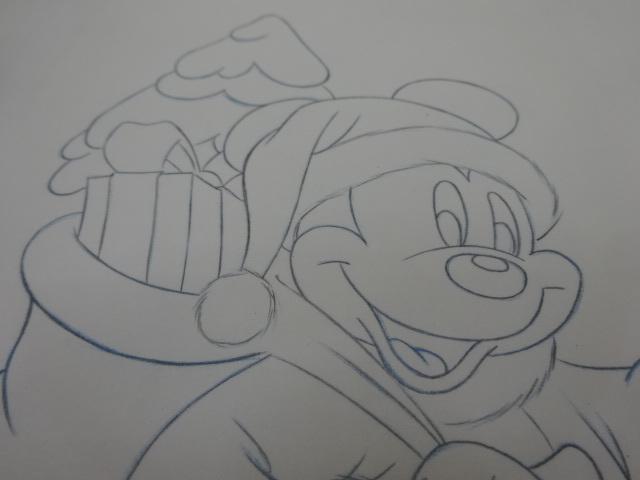 ディズニー Disney 「 ミッキーサンタ 」 鉛筆画 肉筆 デザイン画 額装_画像4