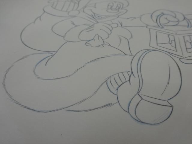 ディズニー Disney 「 ミッキーサンタ 」 鉛筆画 肉筆 デザイン画 額装_画像5