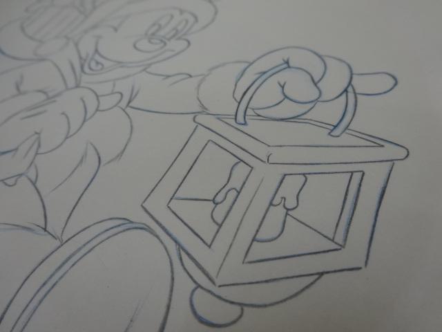 ディズニー Disney 「 ミッキーサンタ 」 鉛筆画 肉筆 デザイン画 額装_画像6
