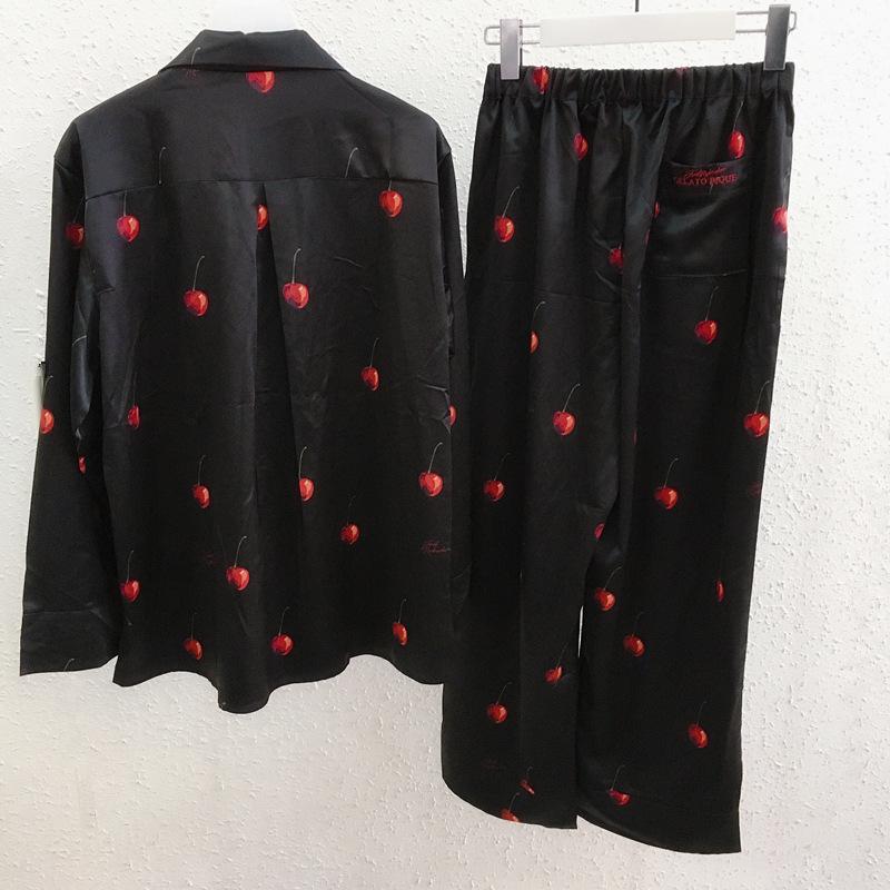 新品 Joel Robuchon & gelato pique HOMMEチェリー サテンシャツ&パンツ 上下セット ブラック_画像2