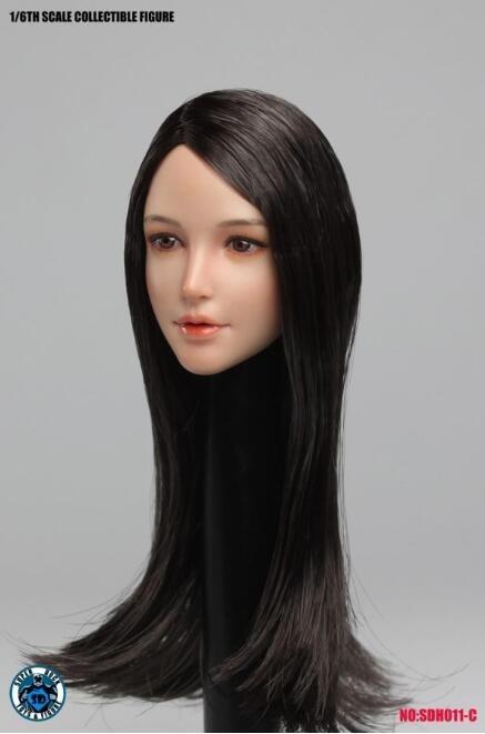新品 1/6素体専用美人ヘッドパーツ フィギュア用 SUPER DUCK SDH011-C TBLeague対応(素体なし)長い髪の毛(T2813)_画像2