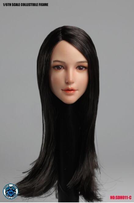 新品 1/6素体専用美人ヘッドパーツ フィギュア用 SUPER DUCK SDH011-C TBLeague対応(素体なし)長い髪の毛(T2813)_T2813