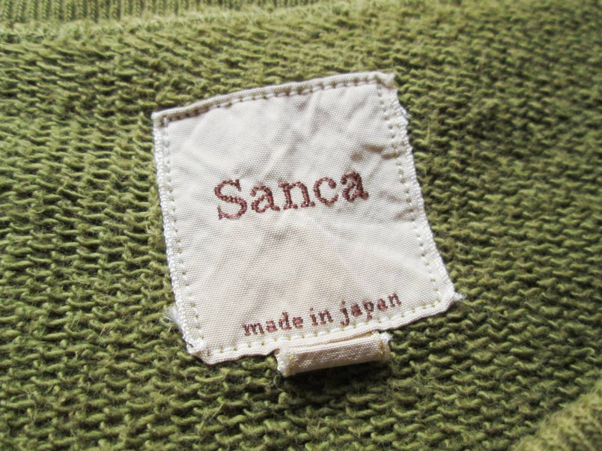 美品 sanca サンカ トレーナー カーキ グリーン 無地 厚手 大きいサイズ メンズ サイズ3 綿100%_画像4