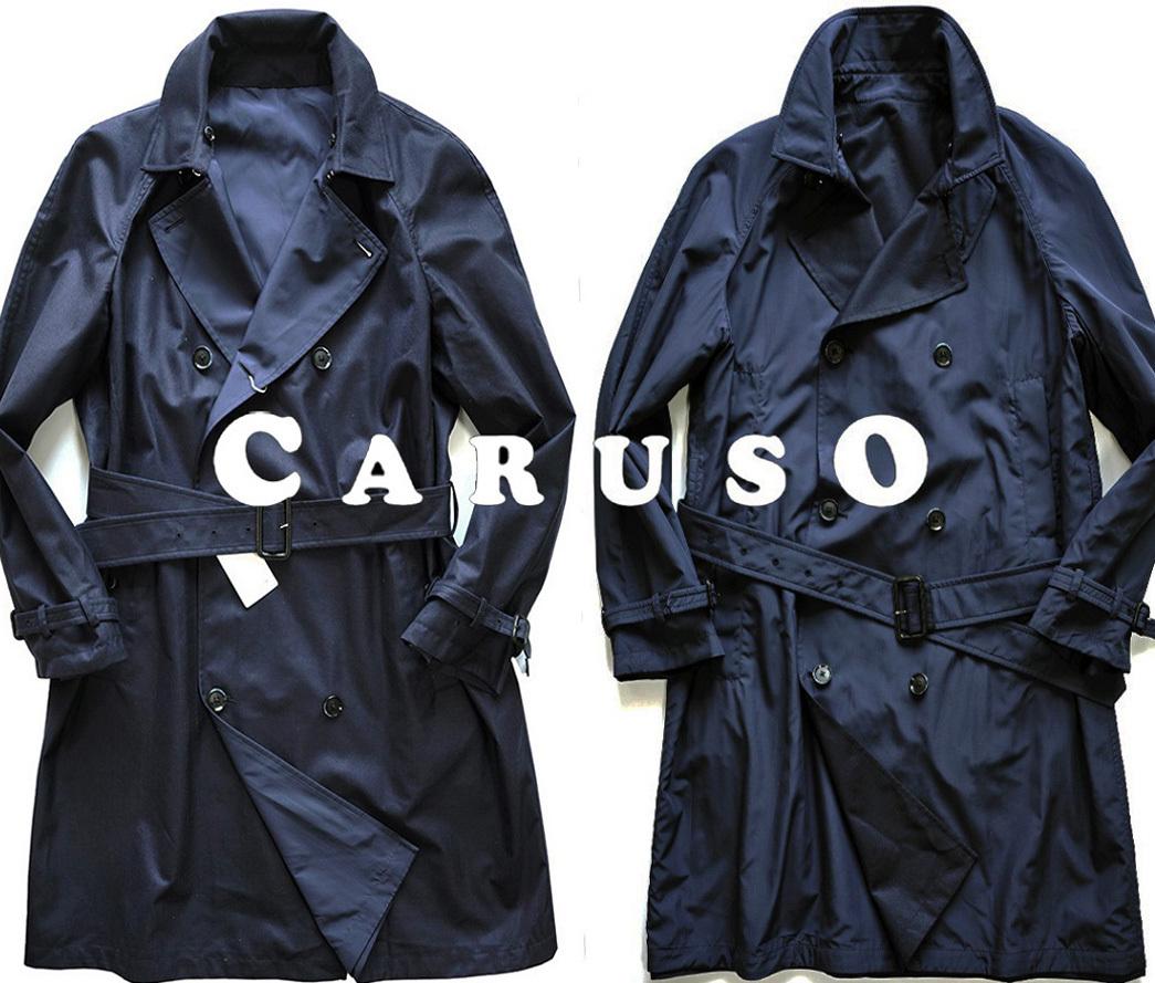 新品48万【CARUSO】名門カルーゾ/驚愕の素材感/最高峰/艶を纏った両面主役リバーシブルカシミアシルクトレンチコート50/サイズL-XL相当D168_画像1