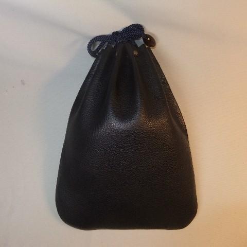 革製信玄袋 牛革 シュリンク・エンボス・ブラック 2ポケット