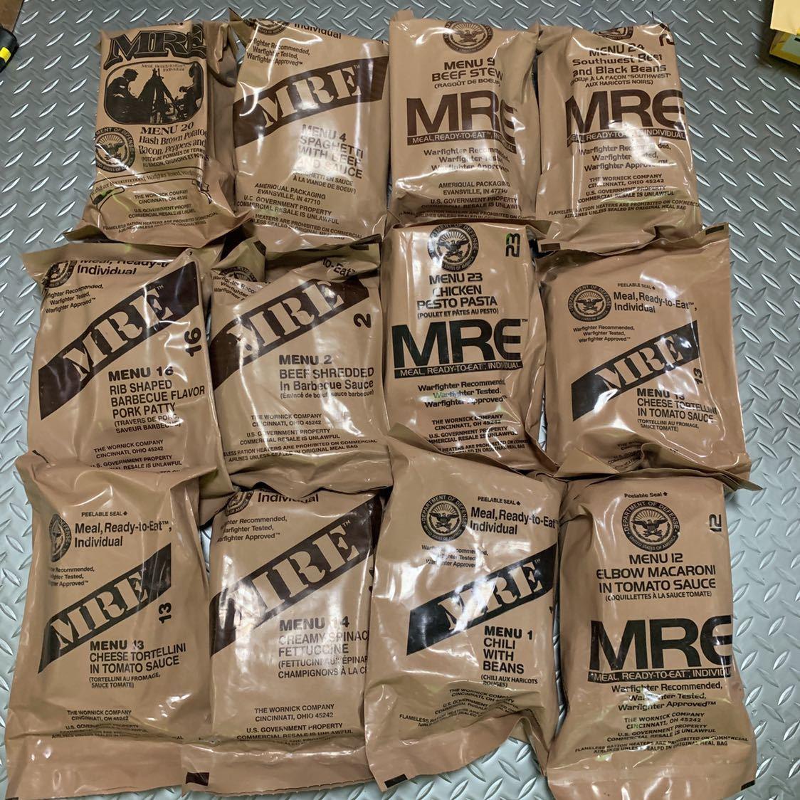 未開封 最新 2019年 検品 米軍 戦闘食 MREレーション ミリメシ 非常食 メニュー 12個 セット 19年