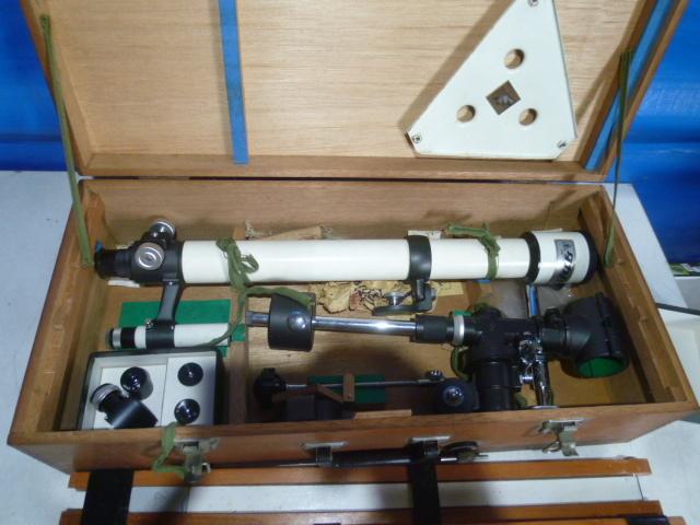TS式 50mm 屈折赤道儀 天体望遠鏡 木製ケース付_画像2