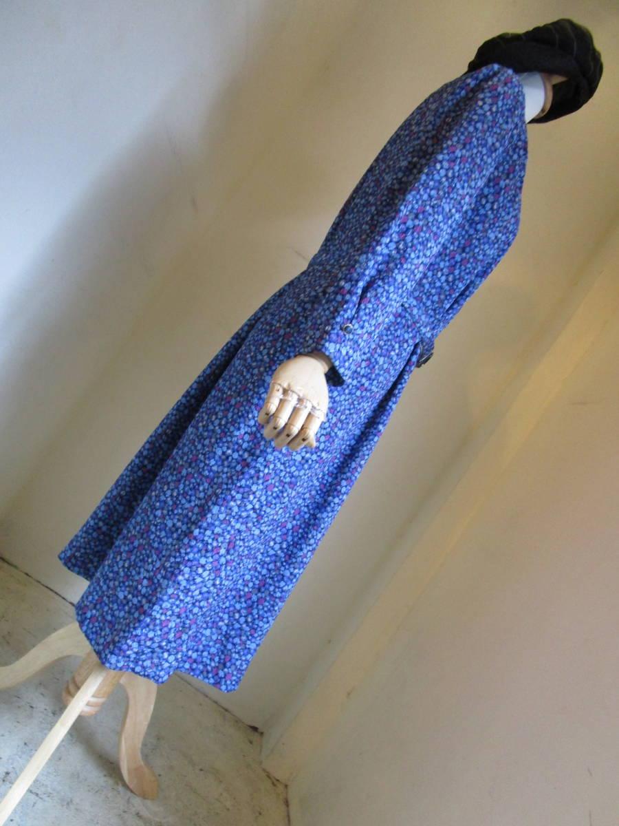 ○[60s70s80s vintage ヴィンテージ 青ブルー紫 ドット ベルト付き ノーカラー ワンピース190508]USED古着 昭和レトロ・モダン・_画像8