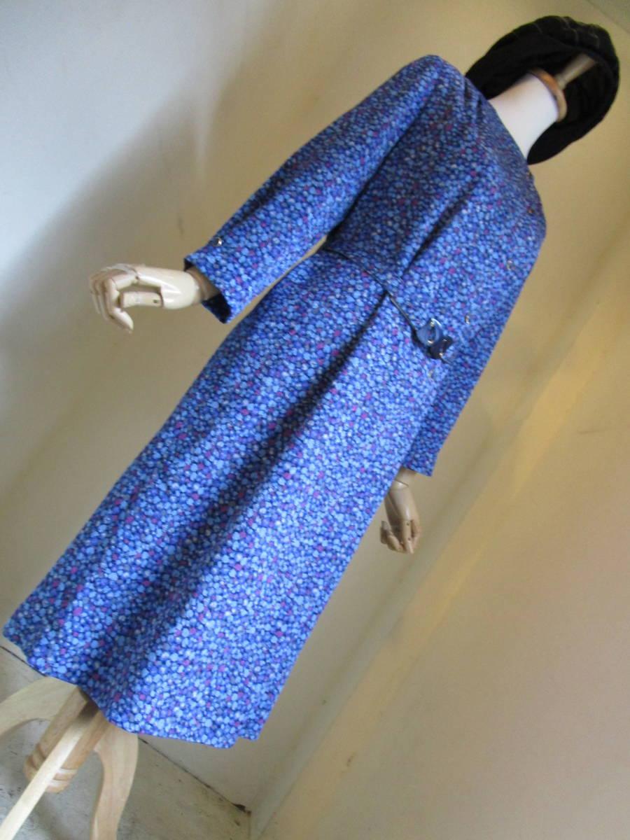 ○[60s70s80s vintage ヴィンテージ 青ブルー紫 ドット ベルト付き ノーカラー ワンピース190508]USED古着 昭和レトロ・モダン・_画像7