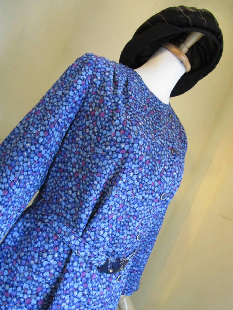 ○[60s70s80s vintage ヴィンテージ 青ブルー紫 ドット ベルト付き ノーカラー ワンピース190508]USED古着 昭和レトロ・モダン・_画像6