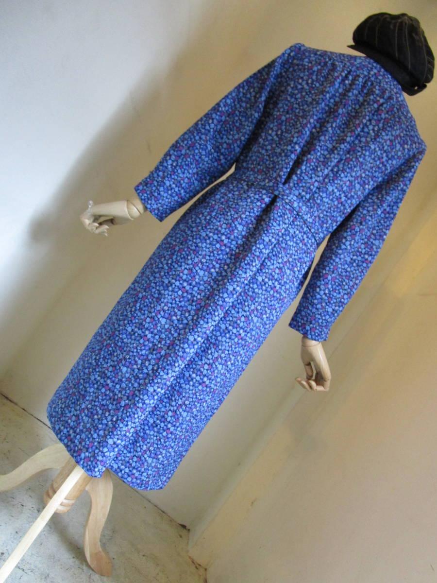 ○[60s70s80s vintage ヴィンテージ 青ブルー紫 ドット ベルト付き ノーカラー ワンピース190508]USED古着 昭和レトロ・モダン・_画像9