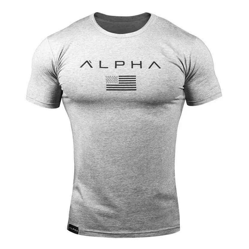 【XXL-size】ALPHA★Tシャツ 米グレー /筋トレ/sport/training/服/GYM SHARK/wear/ボディビル/ゴールド/ジム/メンズ/トレーニング/ウェア/_画像1