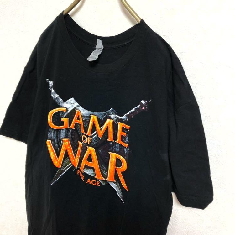 【廃盤】GAME OF WAR プリント ロゴ Tシャツ メンズ M 黒 古着 ゲームオブウォー デザインTシャツ ブラック アニメTシャツ ゲーム スマホ