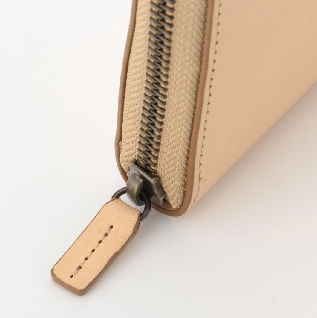 箱◯ 無印良品 新品 イタリア産ヌメ革 ラウンドファスナー 長財布 生成 MUJI_画像3