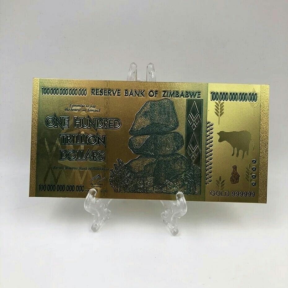 100兆 ジンバブエドル札 紙幣 金メッキ レプリカ 1枚 検索用: 記念紙幣 金運 お守り 商売繁盛_画像2