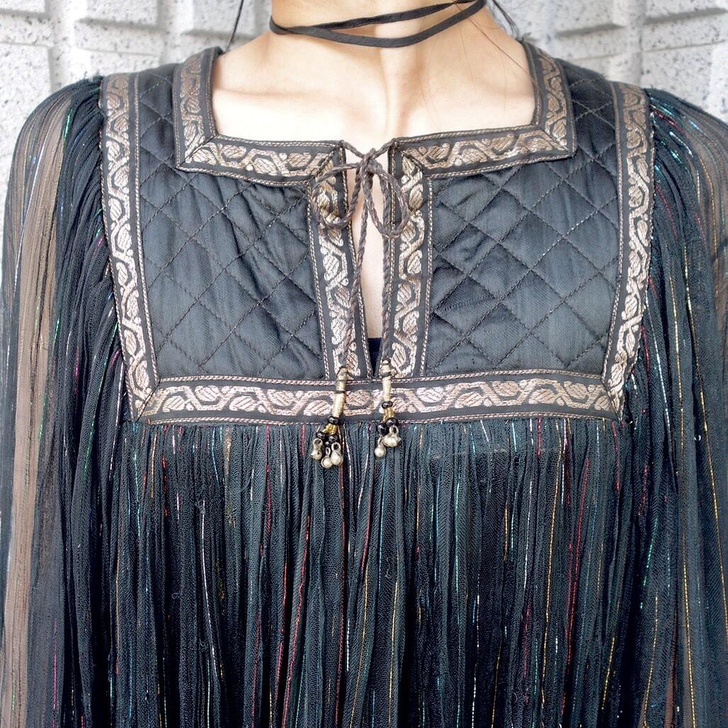 ヴィンテージ70sインド綿ワンピース レディース古着ビンテージアンティーク黒ブラックコットン刺繍長袖ロングシアーキルティングレア_画像7