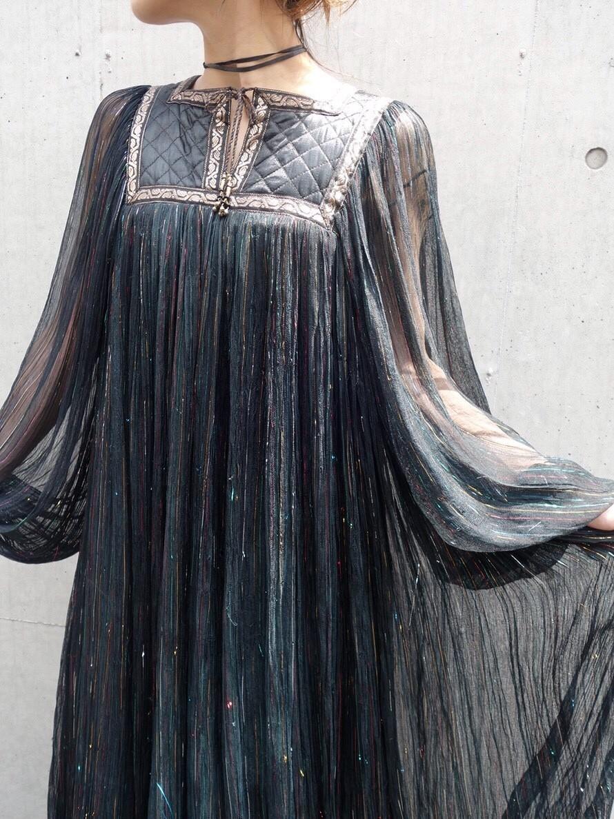 ヴィンテージ70sインド綿ワンピース レディース古着ビンテージアンティーク黒ブラックコットン刺繍長袖ロングシアーキルティングレア_画像10