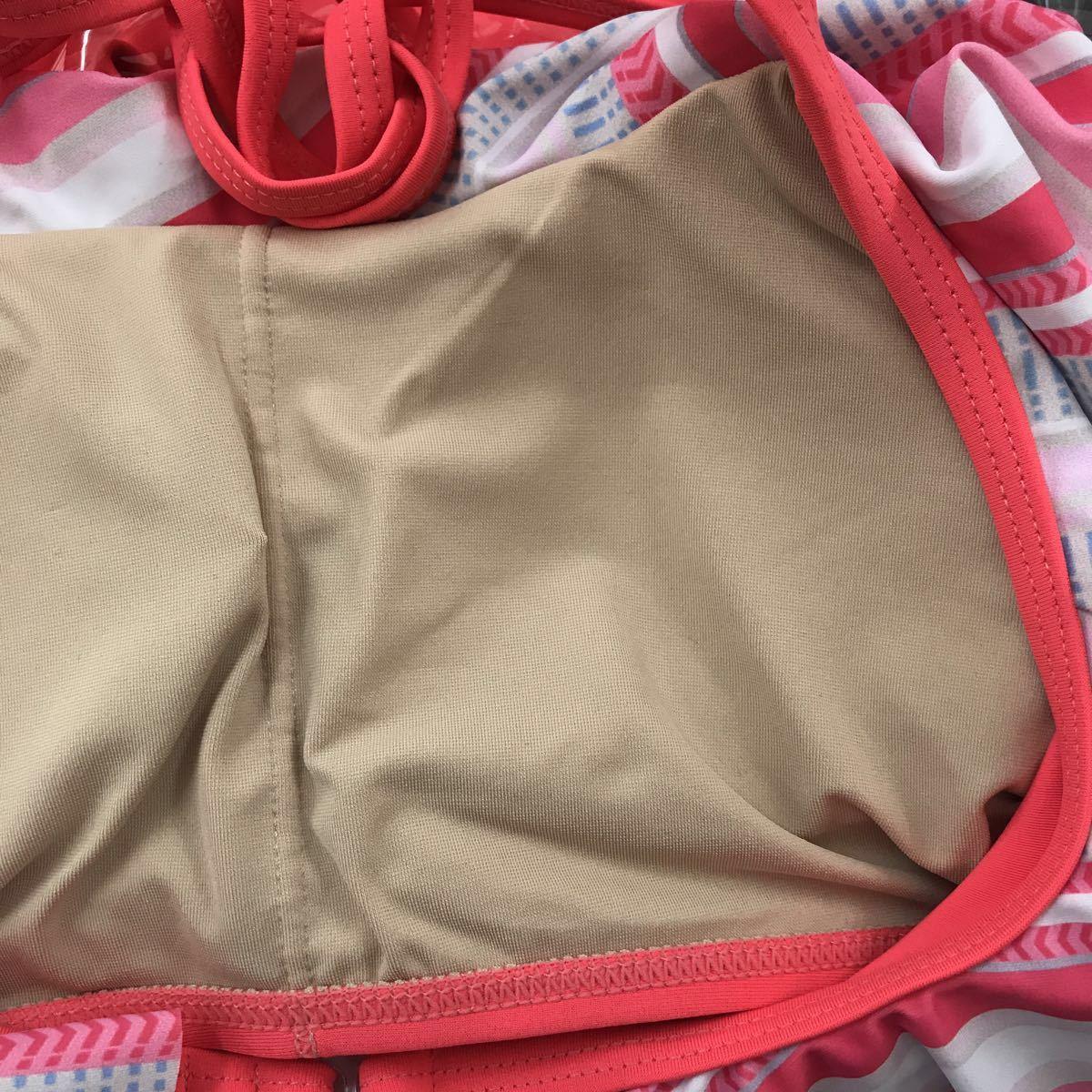 10587 新品 ベネトン BENETTON オレンジ Tシャツ付き フレアビキニフレアーショートパンツ4点セット レディース 水着 7号  体型カバー_画像9